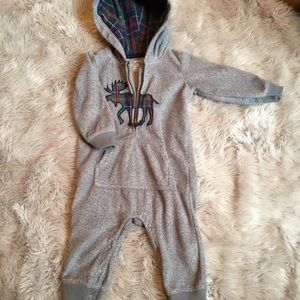Carters moose flannel one piece bodysuit gray